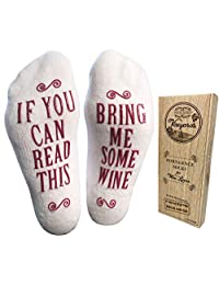 "Luxury Combed Cotton ""Bring Me Some Wine"" Novelty Socks with Gift Box - Perfect Hostess or Housewarming Gift Idea for Women, Cute Present for Wine Lover, New Mom or Wife - By Haute Soiree"