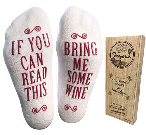 """Bring Me Some Wine"" Luxury Combed Cotton Socks with Gift Box – Perfect Hostess or Holiday Gift Idea for Women, Cute Christmas Gift Idea for Wine Lover, New Mom or Wife – By Haute Soiree"