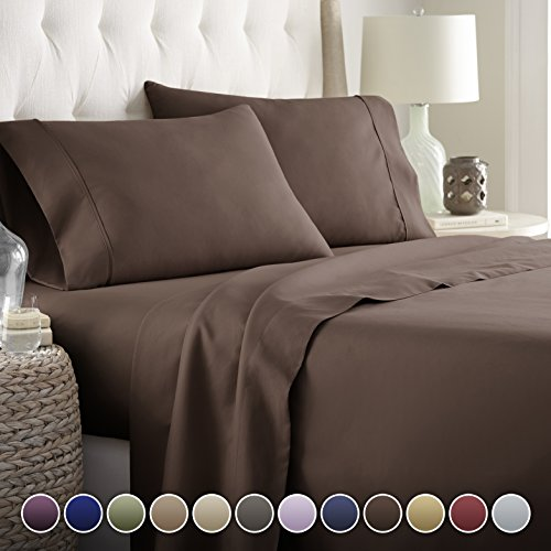 HC COLLECTION Hotel Luxury Bed Sheets Set-ON SALE TODAY! On Amazon-Top Quality Softest Bedding 1800 Series Platinum Collection-100%!Deep Pocket,Wrinkle & Fade Resistant (Full,Brown)