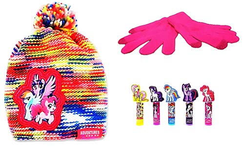 My Little Pony Characters Multi-Colored Knit Hat Gloves and Lip Balm Set