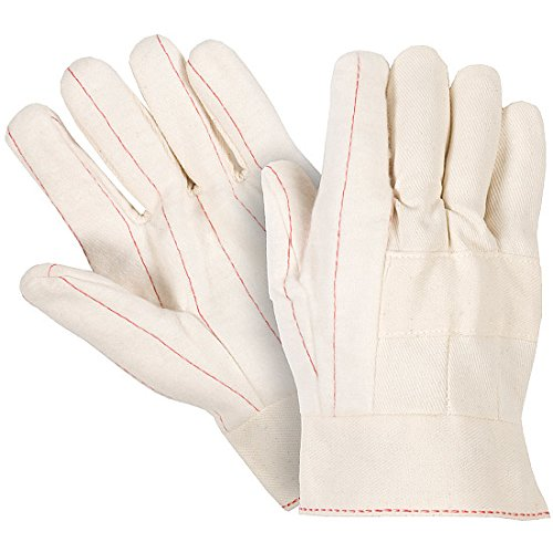 Southern Gloves U243CBT-P Medium Weight, Two-Ply, Nap Out, Cotton Outer, Non-Woven Liner, Knuckle Strap, Ladies, Large, Womens, White (Pack of 12) Hot Mill Knuckle Strap