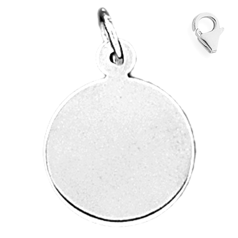 JewelsObsession Sterling Silver 23mm Handcut Round Charm w//Lobster Clasp