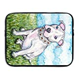 13 15 inch Daisy White Pit Bull Terrier Puppy Dog Painting Laptop Sleeve Bag Water Resistant