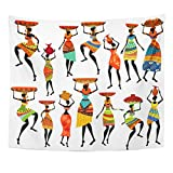 Angoni Tapestry People Africa Silhouettes of Beautiful African Women Life Traditional Dance Home Decor Wall Hanging for Living Room Bedroom Dorm 60x80 inches