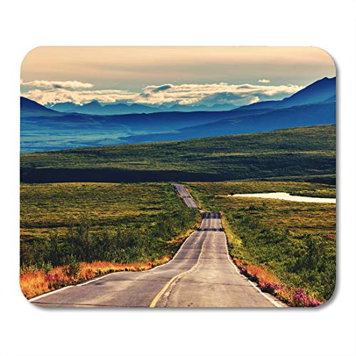 Semtomn Mouse Pad Green Alaska Tundra Landscapes Above Arctic Circle Base Beautiful Mousepad 9.8