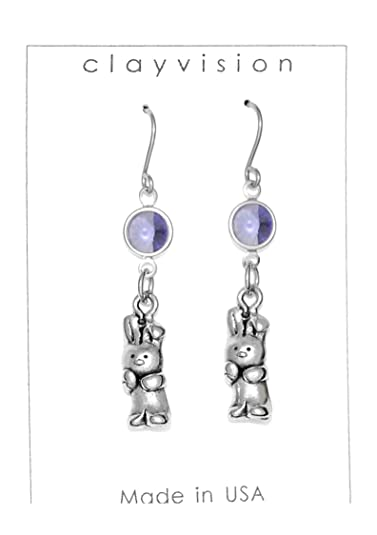 0984b6dcf Amazon.com: Clayvision Rabbit Bunny Easter Charm Earrings with ...
