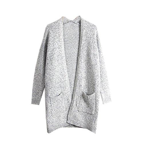 YOUJIA Mujeres Casual Mid-length Manga larga Jerséis Cárdiganss Coat Jacket Jerséy Suéters (Gris, Tamaño libre): Amazon.es: Ropa y accesorios