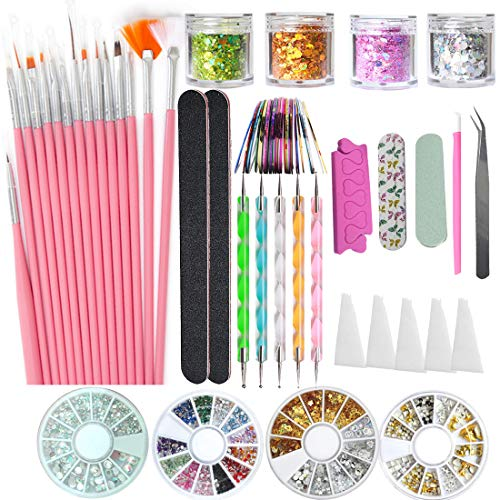 Nail Art Kit AB Rhinestones Charms Glitter Sequins Diamonds Studs Rivets Gems Dotting Pen Brushes Tools Striping Line Tape Beauty Accessories Nail Decoration Set
