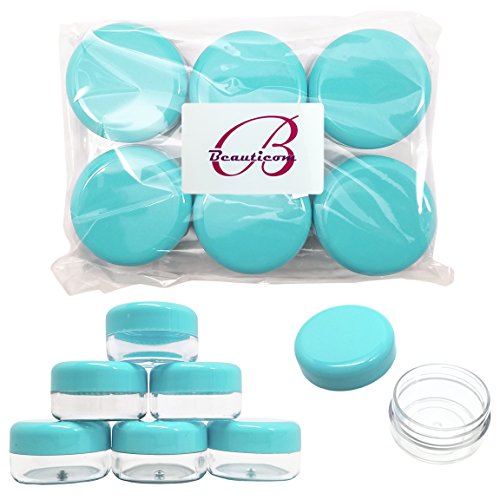 Beauticom Teal Color 15 gram/15ml/ 0.5oz. (Quantity: 48 Pieces) Empty Clear Round Travel Container Jars with Lids for Make Up Powders, Eyeshadow Pigments, Lotions, Creams, Lip Balm, Lip Gloss, Samples