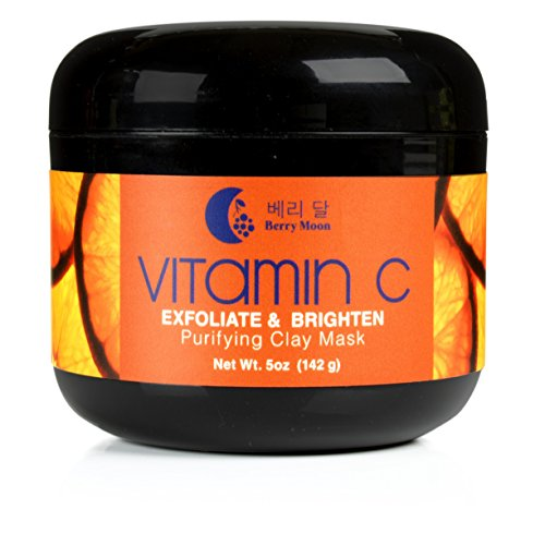 Berry Moon Anti-aging Vitamin C Clay Mask for rough skin, clogged pores, wrinkles, dark spots. With Hyaluronic Acid, Ferulic Acid and Argan Oil. Large 5oz jar.