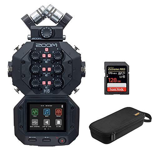 Zoom H8 8-Input / 12-Track Portable Handy Recorder with 128GB Pro Memory Card & Wide-Mouth Case Bundle