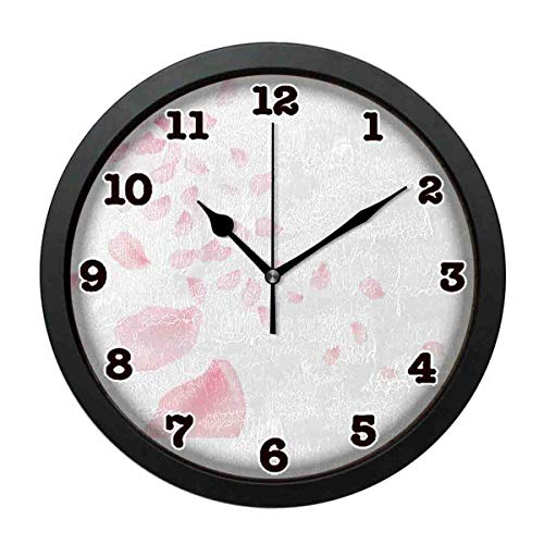 (jiushiyigezi-n Wall Clock-Petals Pink Personality Decorative Wall Clock for Bedroom、Office and Living room-12 inches)