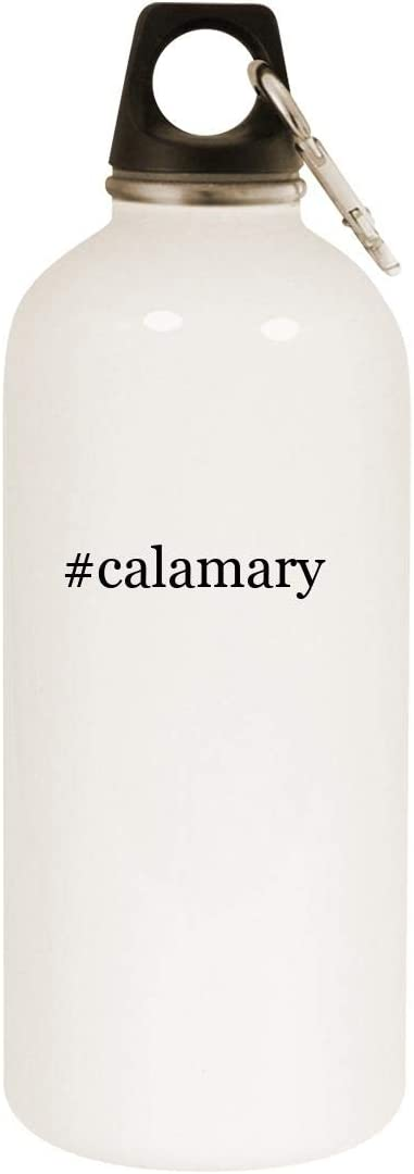 #calamary - 20oz Hashtag Stainless Steel White Water Bottle with Carabiner, White