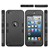 iPod Touch 5 & 6 case, 3-Piece Osurce Full Protection [Heavy Duty] Hybrid Soft Silicone [Rugged Armor] Hard Inner Case Cover for Apple iPod Touch 5th and 6th Generation - Shock Absorbing Black + Black