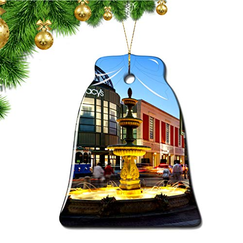 Hqiyaols Ornament USA America CityPlace West Palm Beach Christmas Ornaments Bell Shape Ceramic Sheet Souvenir Travel Gift Tree Door Window Ceiling Pendant Decorative Hanging (Palm Beach West Shopping)