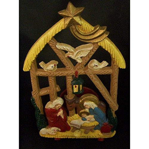 (Cast Iron Holy Family Nativity Manger Votive/Tealight Candle Holder)