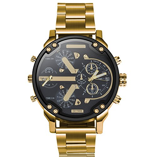Luxurious Watches for Men, Gunmetal-Tone Gold Stainless Steel Sport Analog Quartz Fashion Wrist Watch - Clasp Unusual