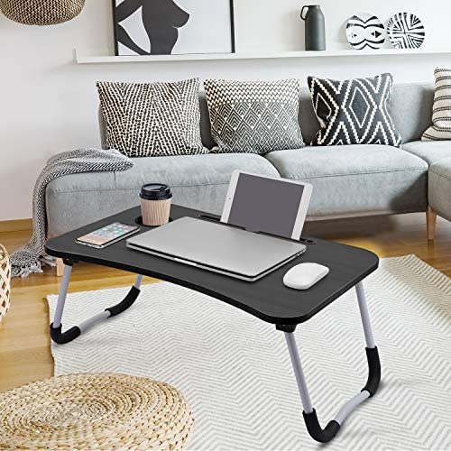 Laptop Desk, Laptop Bed Table, Breakfast Tray, Portable Foldable Laptop Desk, Laptop Table for Bed and Sofa, Notebook Stand Reading Holder for Couch (Black)