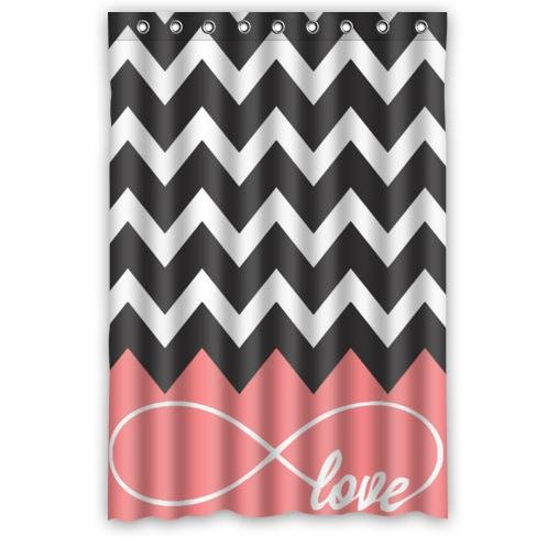 Love Infinity Forever Symbol Chevron Pattern Pink Black White Waterproof Bathroom Fabric Shower Curtain