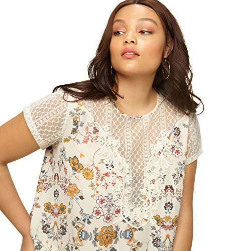 LORALETTE Women's Floral Lace and Crochet Top, 2X White