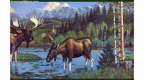 Lodge Moose in the Wilderness Wallpaper Border