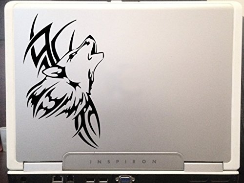 Tribal Wolf Tatoo Design Car Truck Laptop SUV Window Wall Macbook Notebook Laptop Decal Sticker 6 Inches Black by Mono Decals