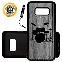 Custom Galaxy S8 Case (Drums Set on Wood) Edge-to-Edge Rubber Black Cover Ultra Slim   Lightweight   Includes Stylus Pen by Innosub