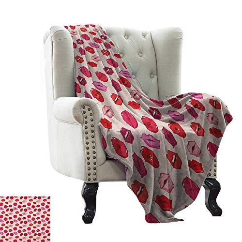 Anyangeight Kiss, Throw Blanket, Vivid Colored Sexy Lips Glamour Fashion Cosmetics Make Up Theme Girls Pattern, Couch Bed Blankets Mini Size, (W60 x L62 Inch Pink Red Rose Peach Boston Red Sox Girls Mini