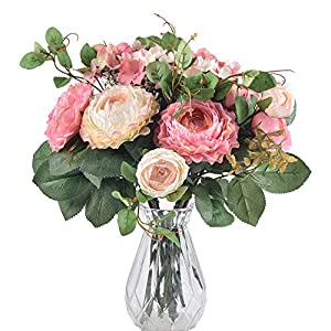 Ivalue 2PCS Artificial Rose Flower Arrangements Wedding Bouquets Silk Fake Flowers Plants for Home Decoration (B-Champage Pink, 2) 2