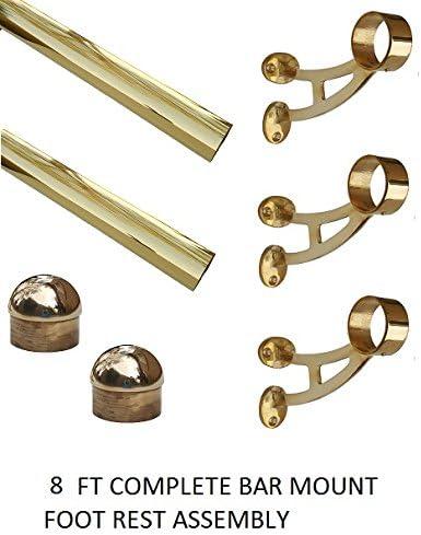 8 ft Long 2 OD Brass Bar Mount Foot Rail Kit