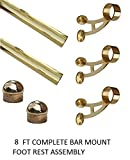 "2"" OD Brass Bar Mount Foot Rail Kit - 8 ft Long"
