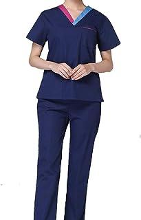 OPPP Abbigliamento medico Camicia da Donna Scollo a V a Maniche Corte Medico Scrub Vestiti Vestito dentistico Scrub Salone di Bellezza Infermiera Uniforme Camicia + Pantaloni
