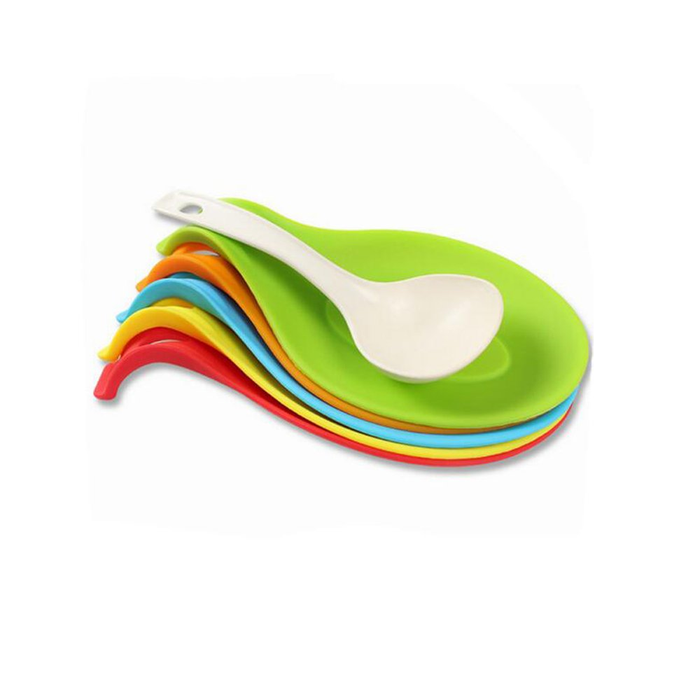 Silicone Spoon Rest, Set of 5 Colorful Soup Ladle Shaped Non-Slip Heat Resistant Mat Spatula Spoon Holder Multi Utensils Storage Rack Holder Kitchen Cooking Tools Sunrise World