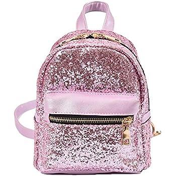 Girls Bling Mini Travel Backpack Kids Children School Bags Satchel Purses Daypack (pink)