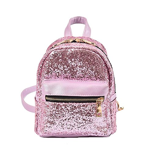 JIANBAO Girls Bling Mini Travel Backpack Kids Children School Bags Satchel Purses Daypack (pink)