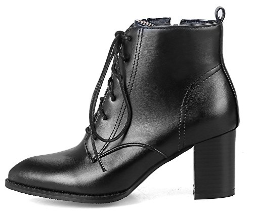 SHOWHOW Women's Chic Lace Up Pointed Toe Waterproof Antiskid Short Boots - stylishcombatboots.com