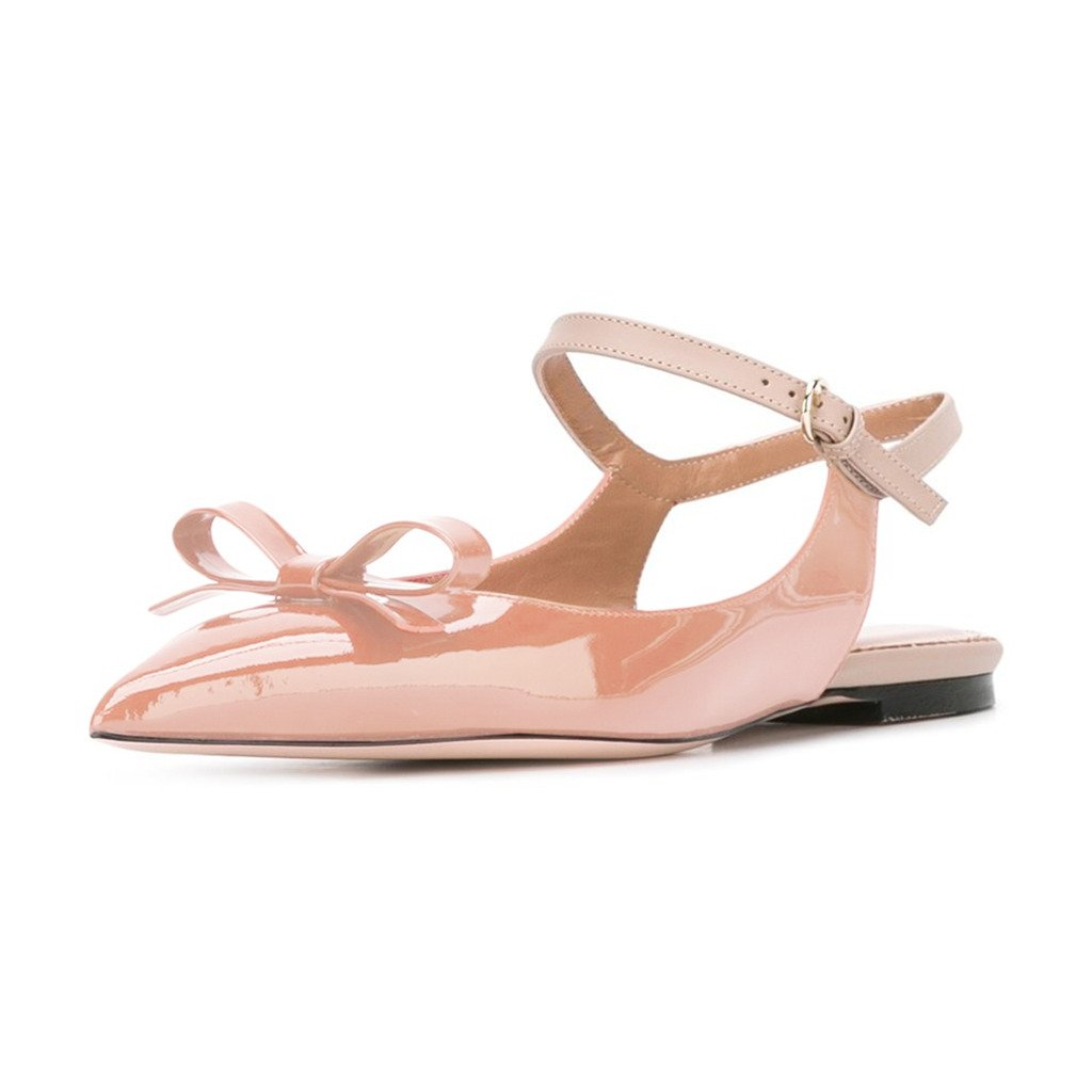 XYD Office Trendy Dress Slingback Flats Pointy Toe Bows Sandals Slip On Pumps Shoes for Women B0716CD4S3 9 B(M) US|Nude