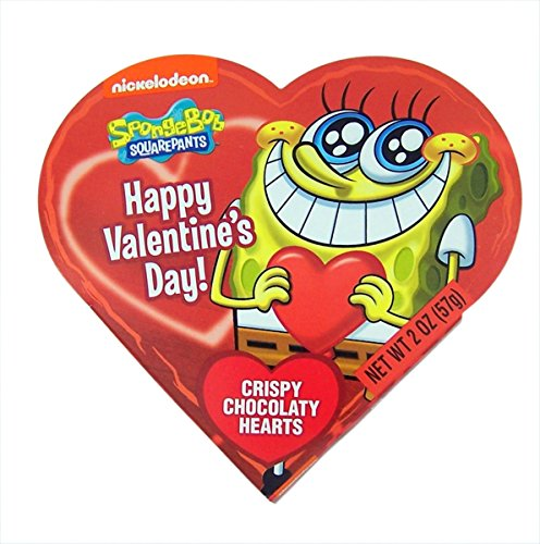 Nickelodeon Spongebob Squarepants Valentines Day Heart Gift Box with Chocolate Heart Candy, 2 oz (Red)