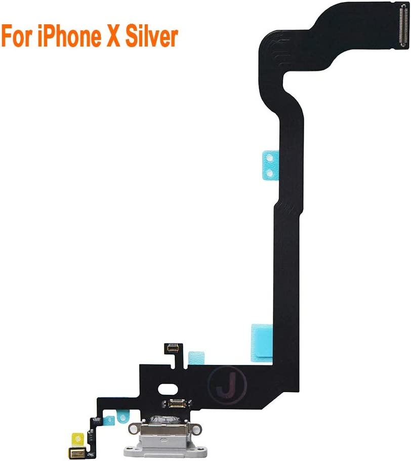Johncase OEM Charging Port Dock Connector Flex Cable + Microphone + Vibrating Motor Buckle Replacement Part Compatible for iPhone X All Carriers (Gray)