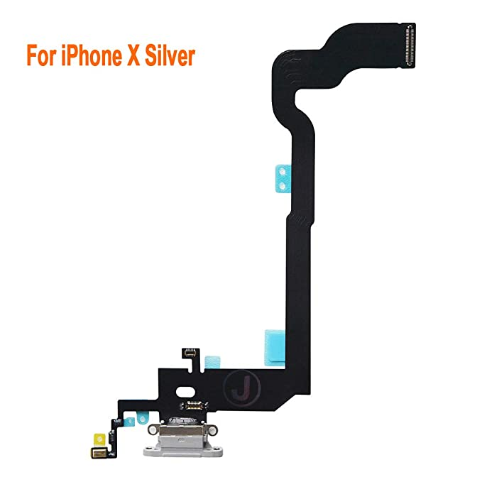 size 40 b1520 b06e6 Johncase Charging Port Dock Connector Flex Cable + Microphone + Vibrating  Motor Replacement Part Compatible iPhone X 5.8
