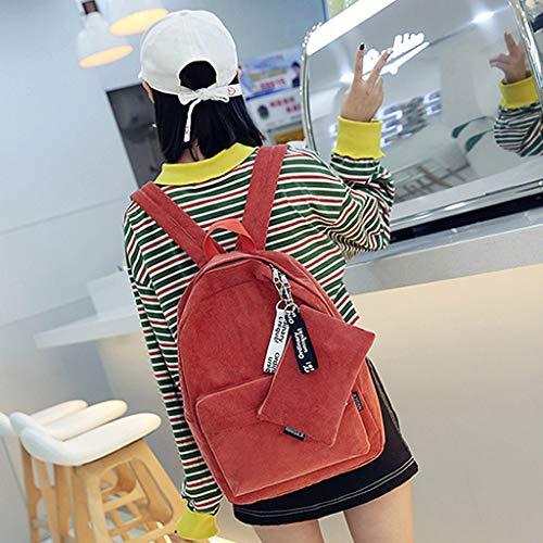 Tebatu Travel Backpack, Casual Corduroy Shoulder Bag Teenagers Rucksack New Orange by Tebatu (Image #3)