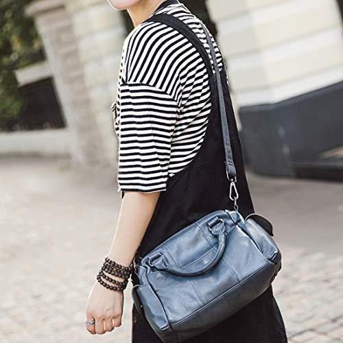 color Femme Véritable Blue Main Sac Pour Cuir En Houyazhan Bandoulière White À SpwHz1