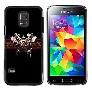 TopCaseStore / la caja del caucho duro de la cubierta de protección de la piel - Warrior Shield & Ace - Samsung Galaxy S5 Mini, SM-G800, NOT S5 REGULAR!