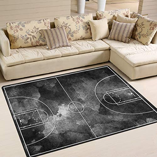 ALAZA Abtsract Grunge Black Basketball Court Area Rug Rug