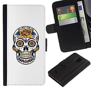 Paccase / Billetera de Cuero Caso del tirón Titular de la tarjeta Carcasa Funda para - Skull Floral Rose Love White Yellow - Samsung Galaxy S5 Mini, SM-G800, NOT S5 REGULAR!