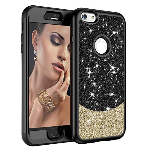 iPhone 6S Plus Case,iPhone 6 Plus Case, ZERMU Three Layer Shockproof Luxury Glitter Cute Bling Thin Soft Hard Shell Hybrid Rubber Bumper Sparkly Shining Fashion Case for iPhone 6S Plus/6 Plus 5.5