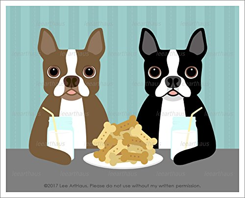 278D - Two Boston Terrier Dogs Eating Dog Bone Cookies and Drinking Milk Mason Jars UNFRAMED Wall Art Print by Lee ArtHaus