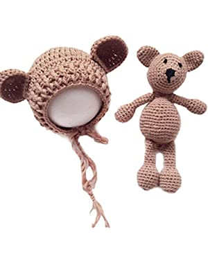 Newborn Baby Toddler Crochet Knit Bear Ear Hat Cap+Toy Bear Photo Prop