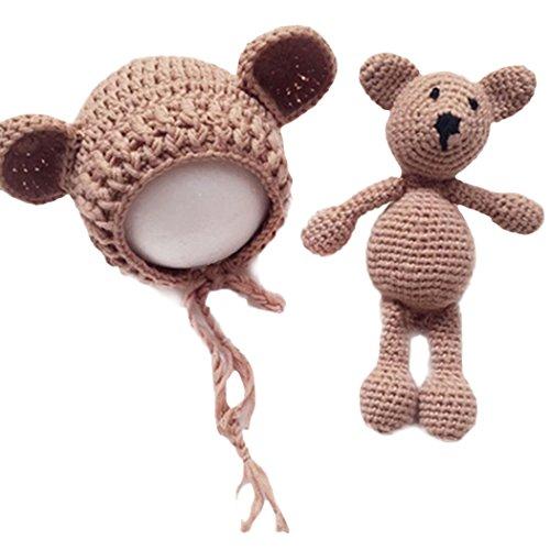 Raylans Handmade Newborn Baby Toddler Crochet Knit Bear Ear Hat Cap+Toy Bear Photo Prop,Khaki