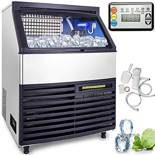VEVOR 110V Commercial Ice Maker 286LBS/24H with 99lbs Storage Capacity Stainless Steel Commercial Ice Machin